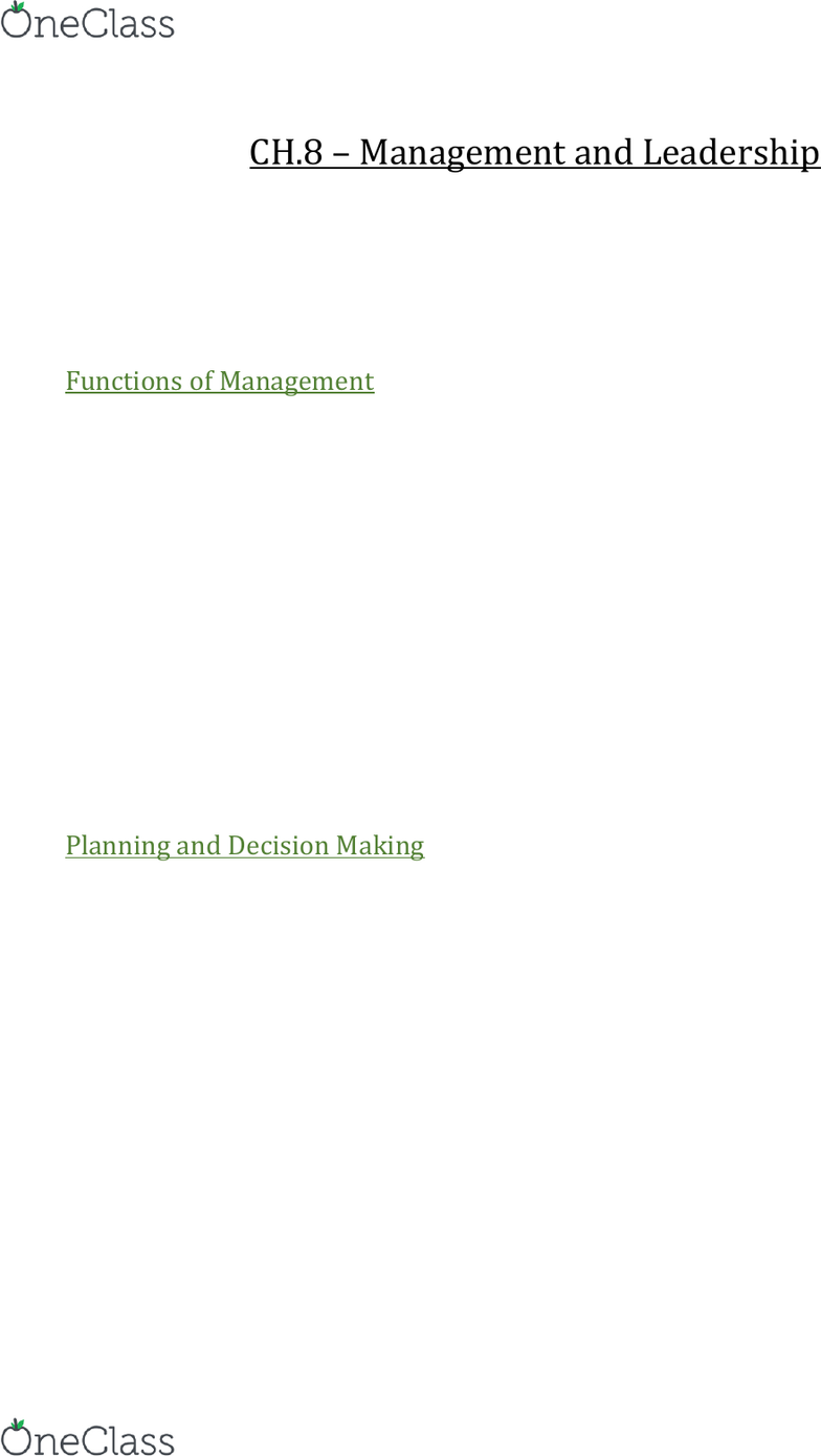 AFM131 Chapter Notes - Chapter 8: Swot Analysis, Time Management, Institute  For Operations Research And The Management Sciences