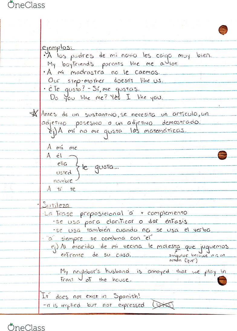 Antes La Vecina span 200 lecture 2: gustar y verbos semejantes - oneclass