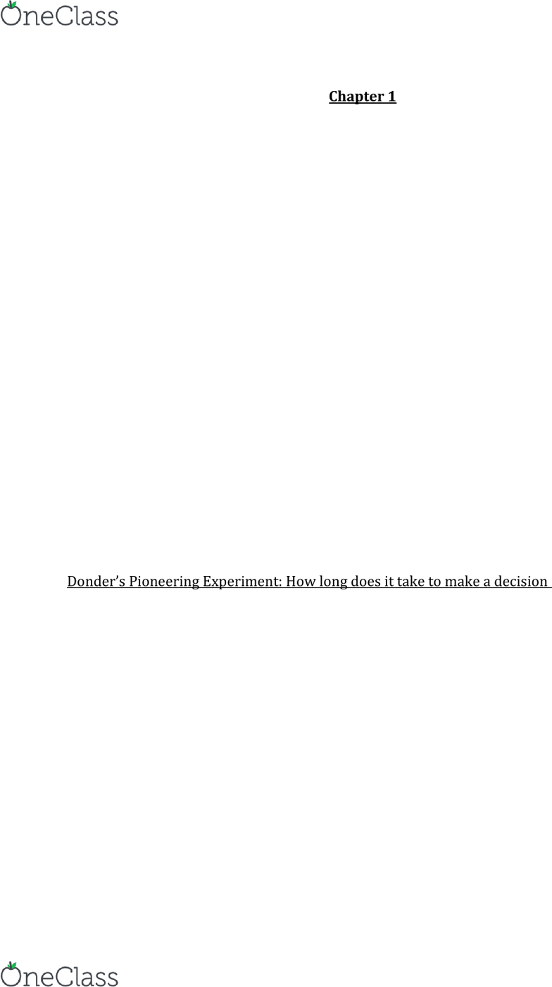 Psychology 2135A/B Chapter Notes - Chapter 1: Franciscus Donders, Wilhelm  Wundt, Little Albert Experiment