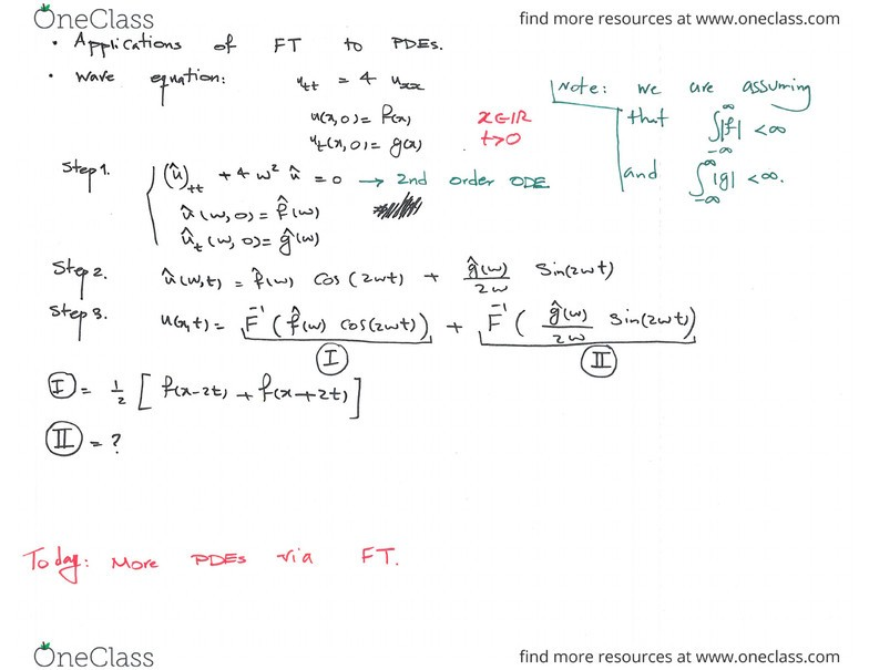 MATH 300 Lecture 13: (Week 13) Application of FT to PDEs  PDEs with non  constant coefficients  Final Exam Info