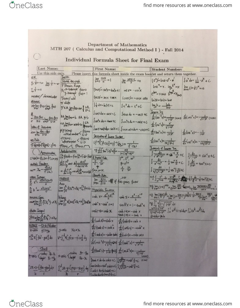 night final exam study guide