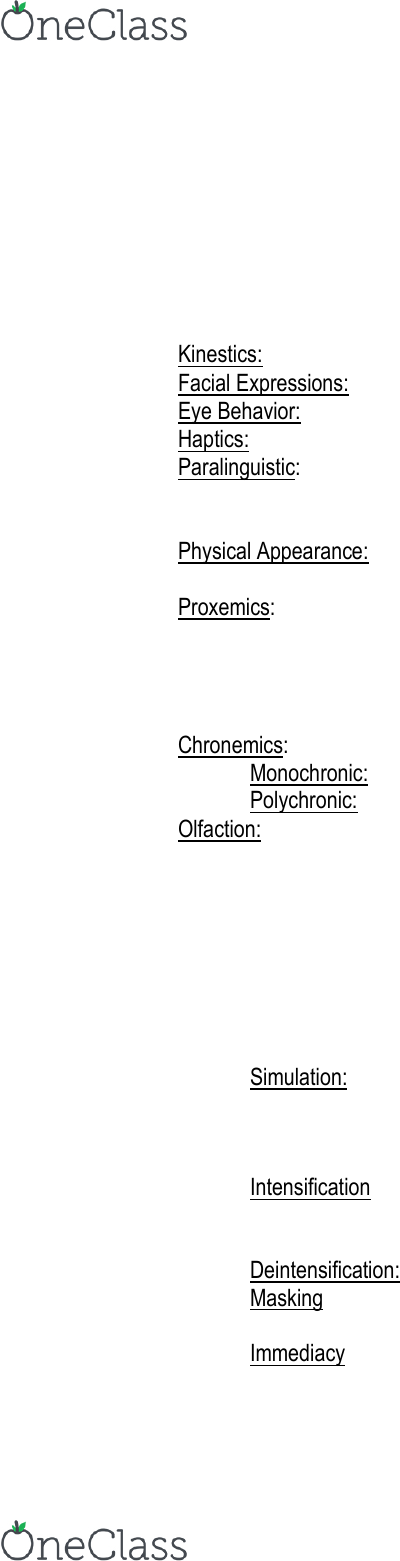 04 192 201 Lecture Notes Spring 2018 Lecture 5 Chronemics Paralanguage Proxemics Indicates status based on who can be late and who cannot. oneclass