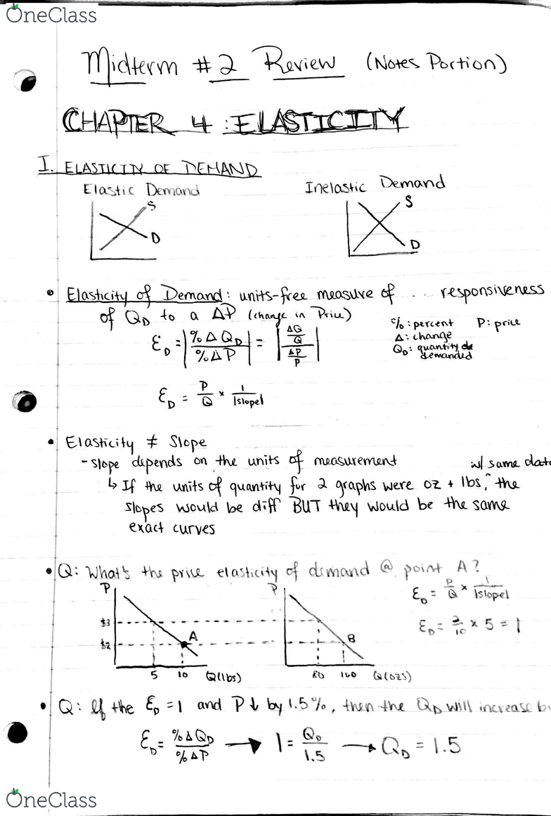 ECON 1 Midterm: Midterm 2 Notes 1 (Ch 4) - OneClass