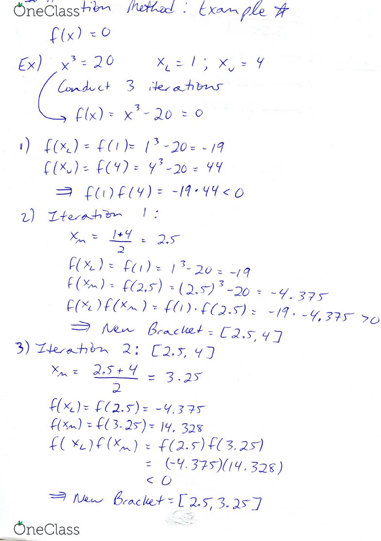 MAD 3703 Chapter 5: Study Guide 5 (Bisection Method Example