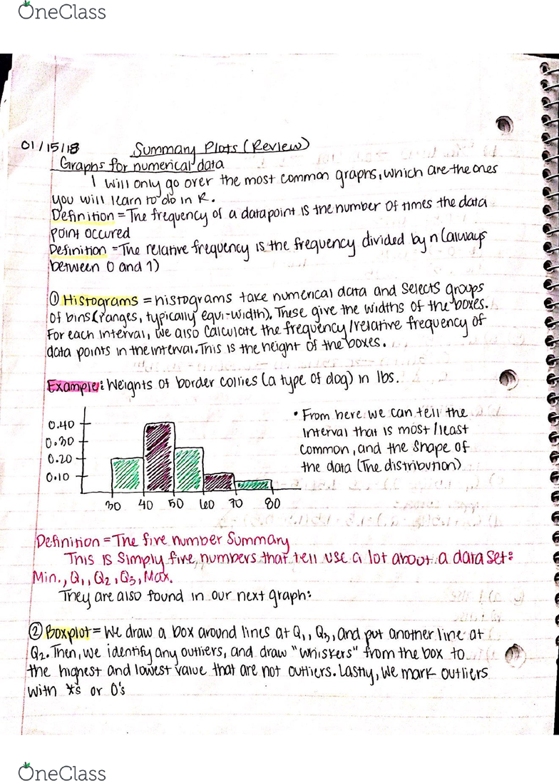 STA 100 Lecture 2: STA 100 Online notes + lecture notes