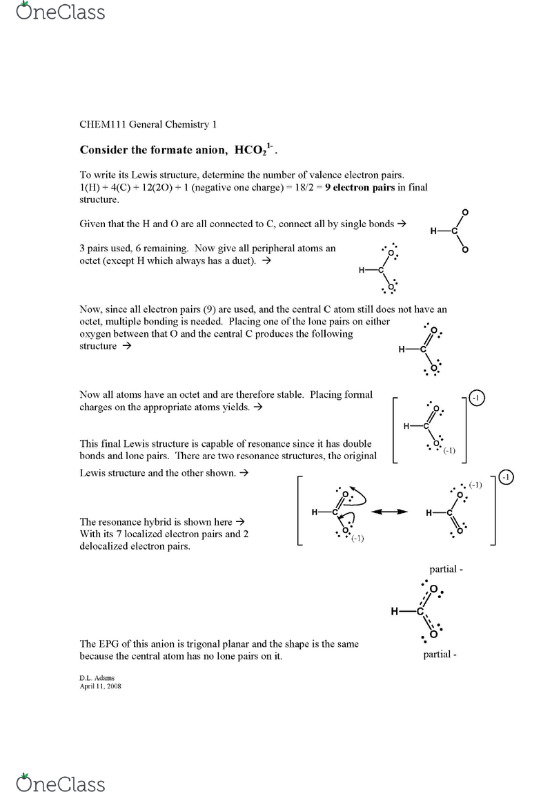 CHEM 111 Study Guide - Final Guide: Delocalized Electron, Lewis Structure,  Ion