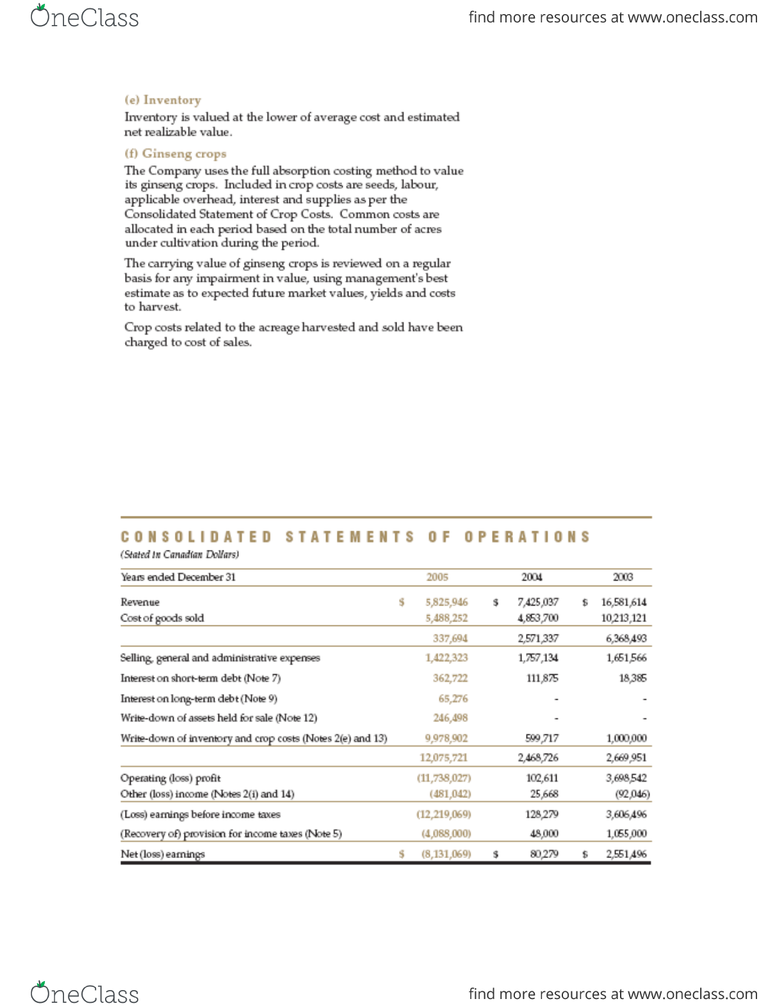 ACCTG414 Study Guide - Fall 2013, Final - Write-Off, Income