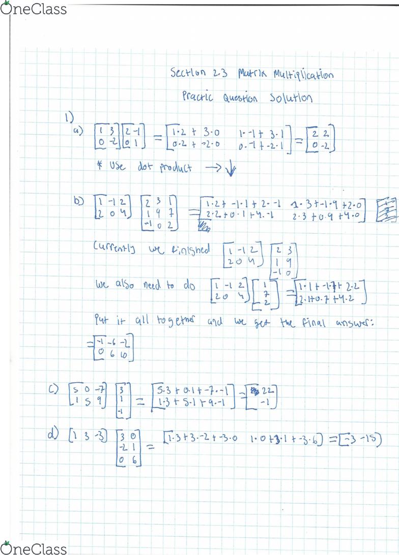 MAT223H5 Chapter 2 3: Matrix Multiplication Practice Problem Solution