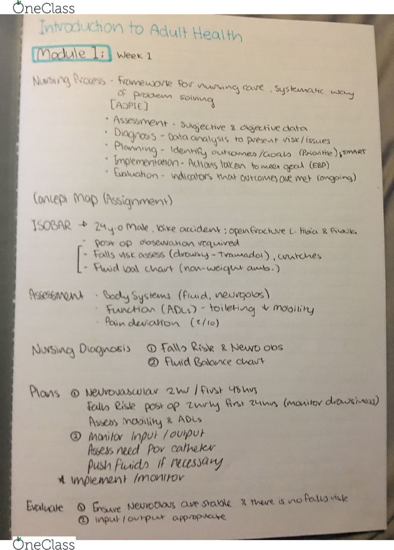 NCS2101 Lecture 1: Adult health introduction notes - OneClass