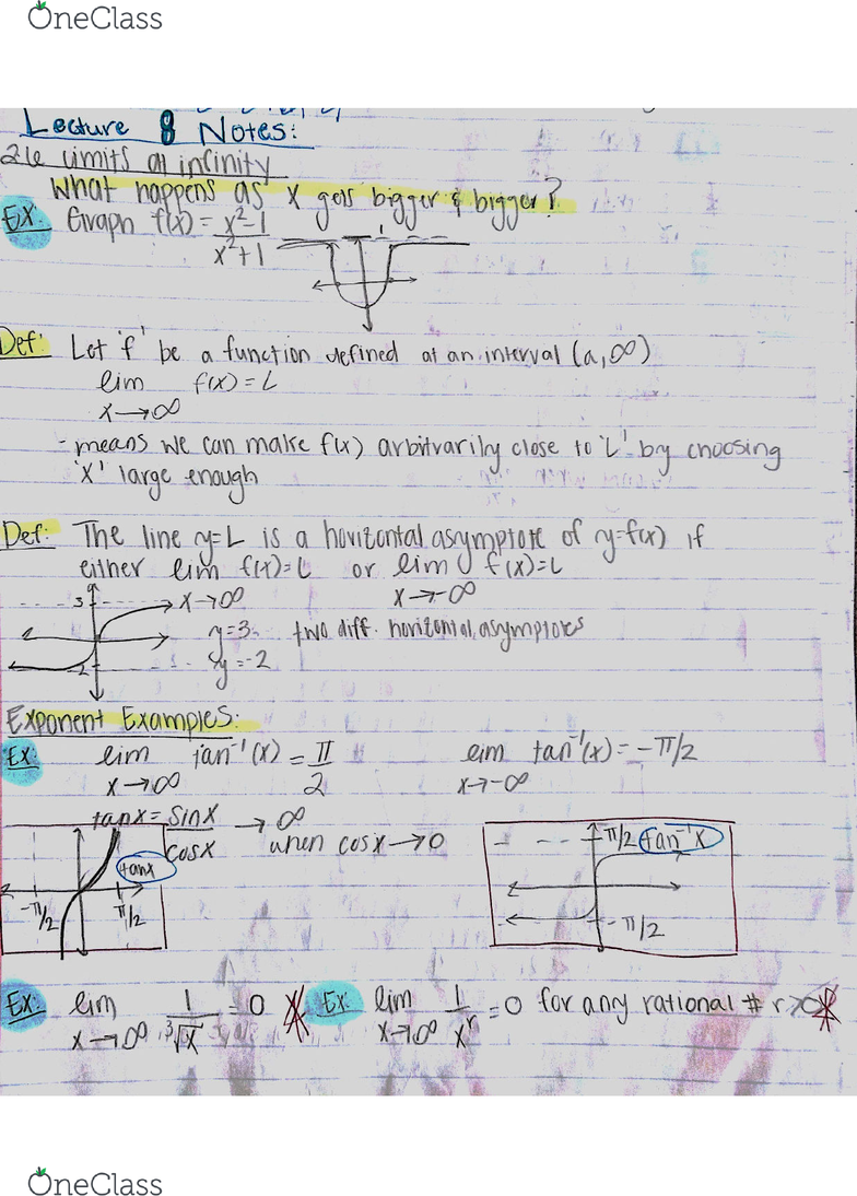 MATH 2A Lecture 8: 44080-Math 2A Lecture 8 Notes-Limits at Infinity