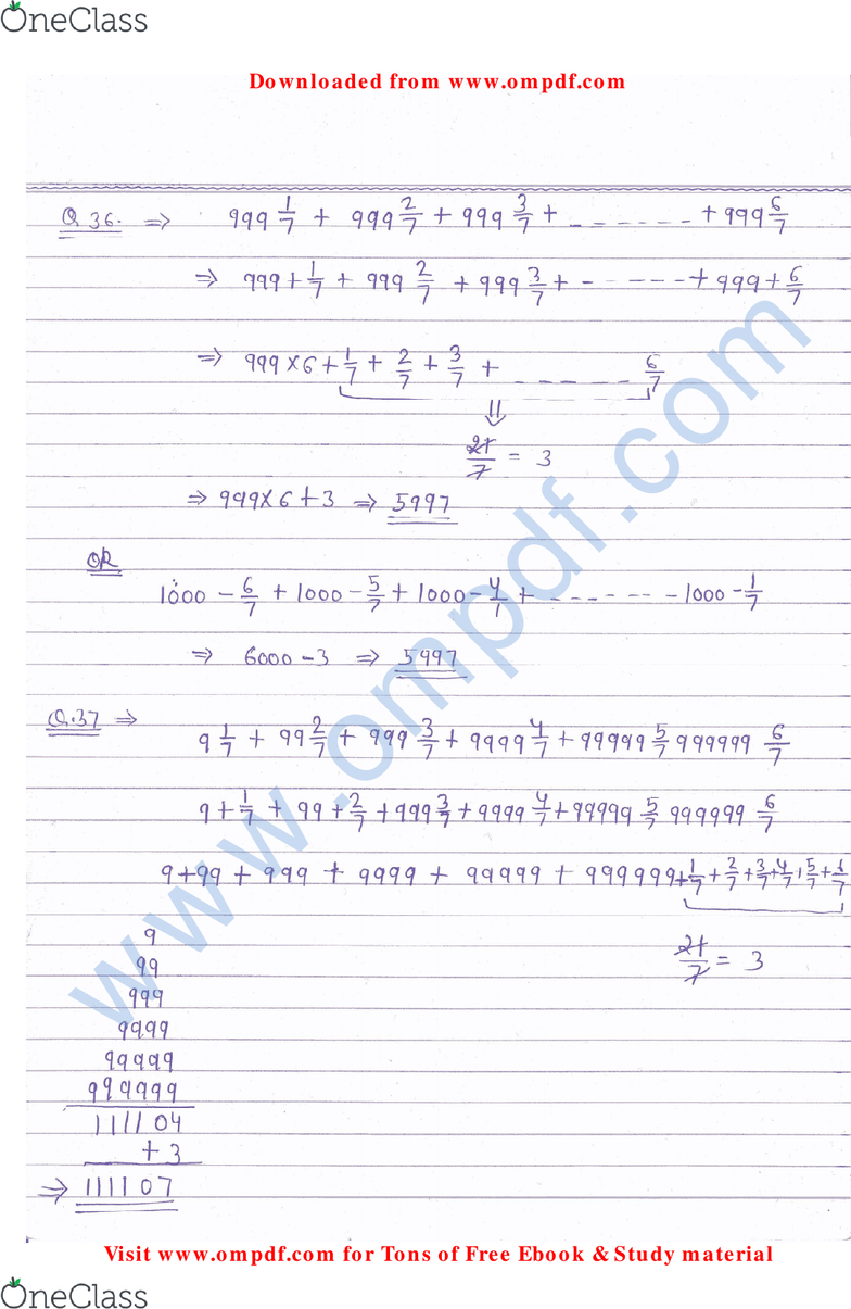 MATH 151 Lecture 9: algebra notes (1) - OneClass