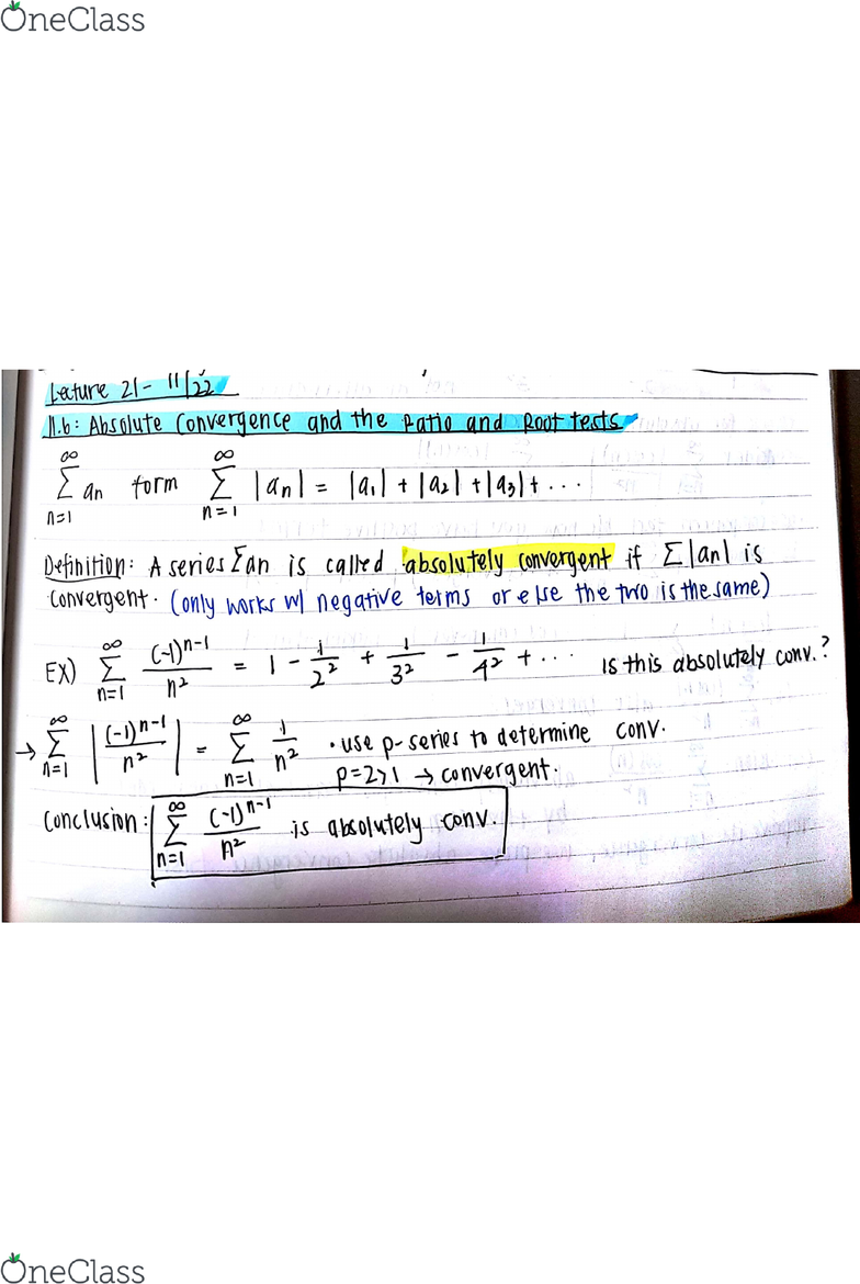 MATH 2B Lecture Notes - Fall 2017, Lecture 21 - Ratio Test