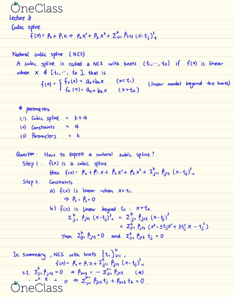 STAT444 Lecture Notes - Winter 2018, Lecture 8 - Spline