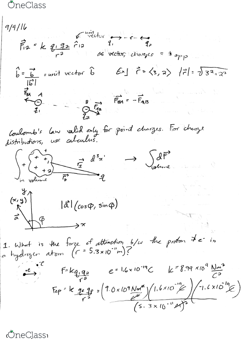 PHYSICS 152 Lecture 2: Coulomb's Law and Electric Forces