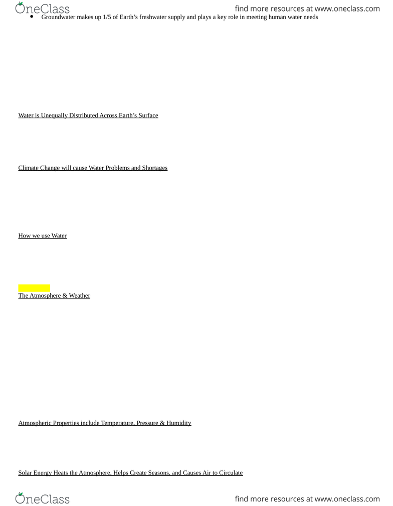GEOG 1220 Study Guide - Fall 2012, Final - Photic Zone