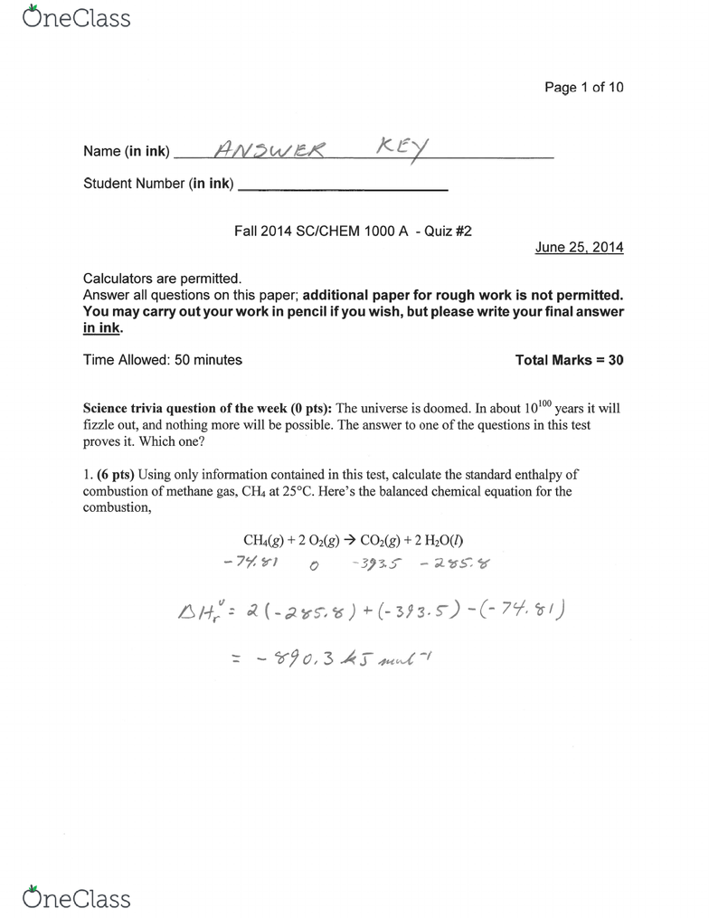 CHEM 1000 Study Guide - Summer 2014, Midterm - Chemical Equation