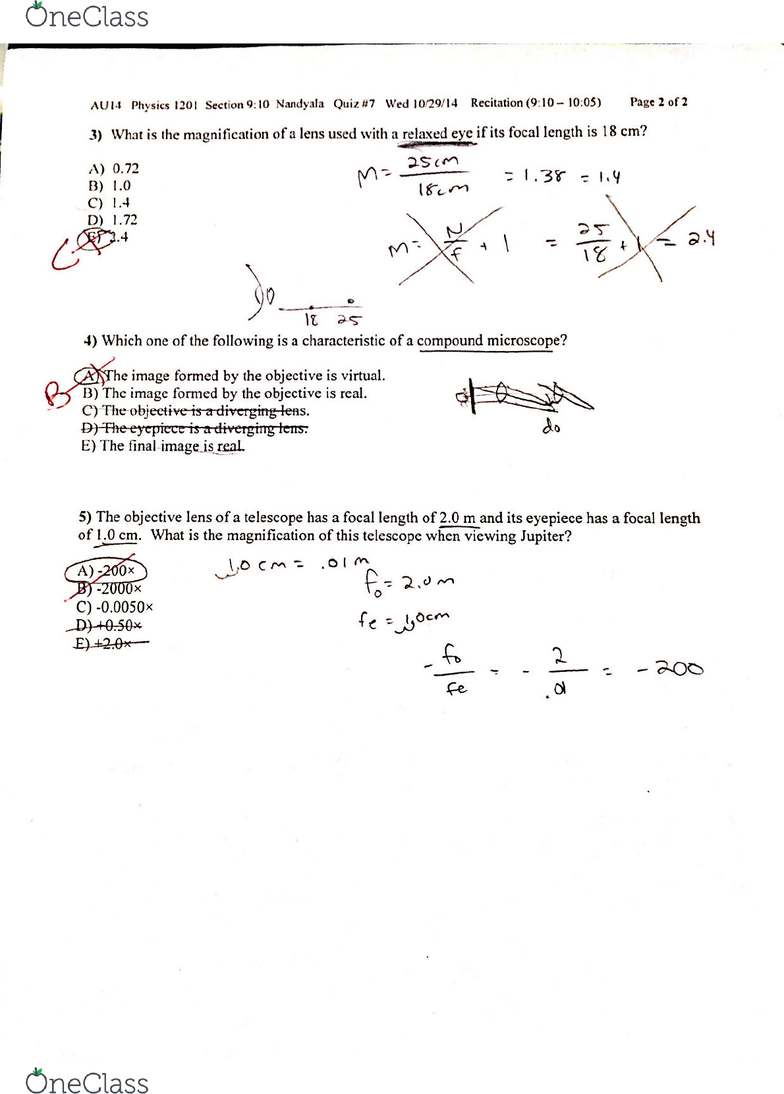 PHYSICS 1201 Quiz: PHYSICS 1201 Quiz 7 - OneClass