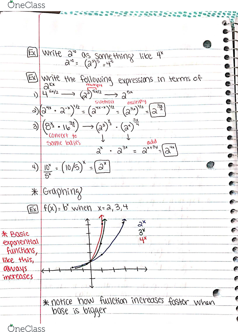 MATH 1400 Lecture 17: Exponential Functions Review - OneClass