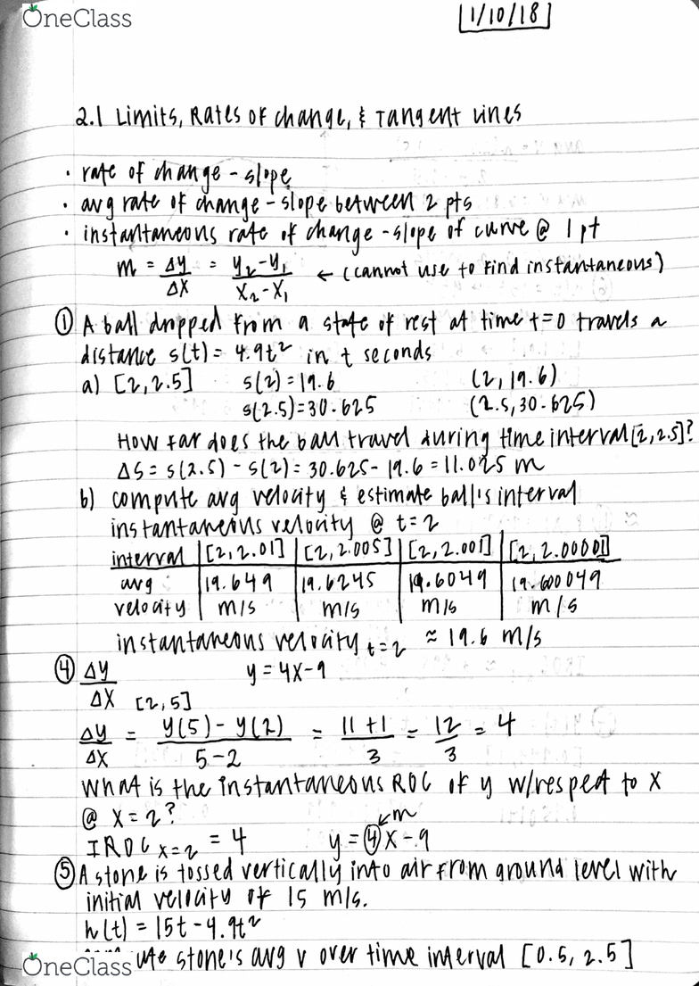 MTH 1321 Lecture 1: calculus notes chapter 2 section 1
