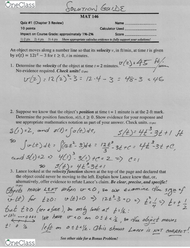 MATH 146 Illinois State mat146Quiz02S18Solution - OneClass