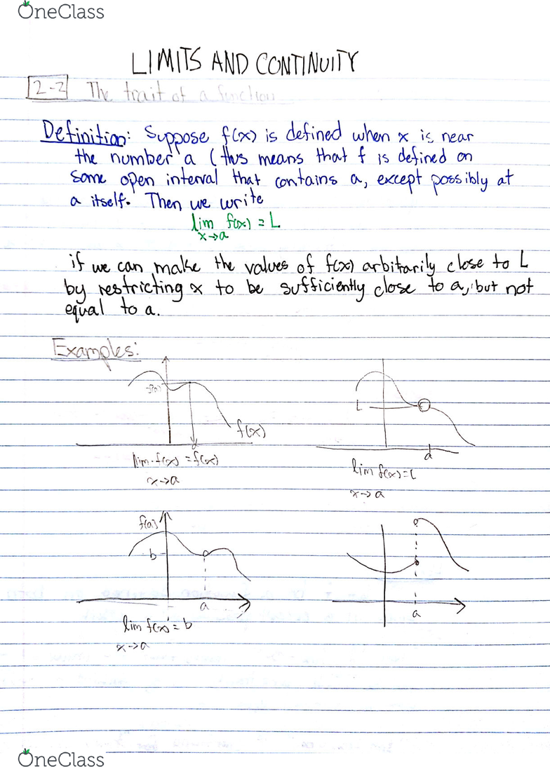 Calculus 1000A/B Lecture 4: Calc 1000A Limits Lecture 4 Sept  18 2018