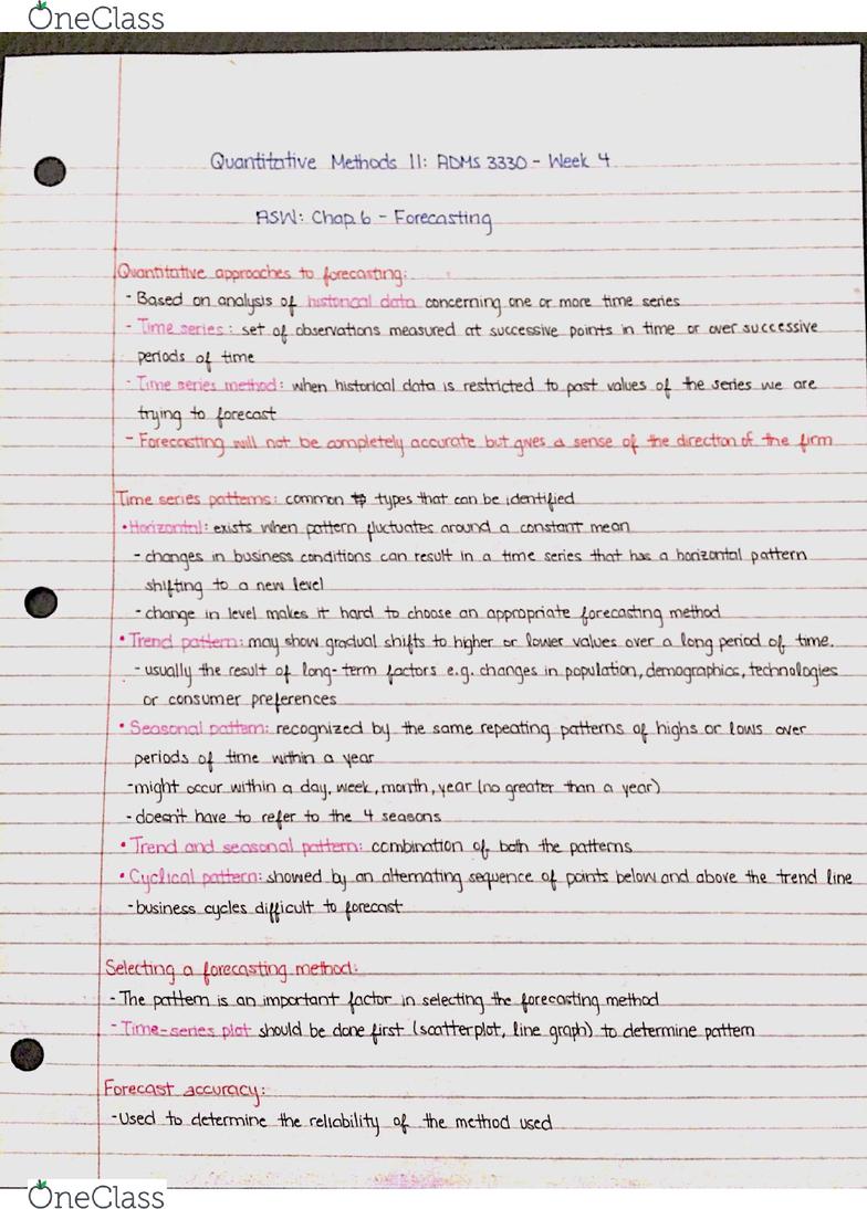 ADMS 3330 Lecture 4: Quantitative Methods II - OneClass